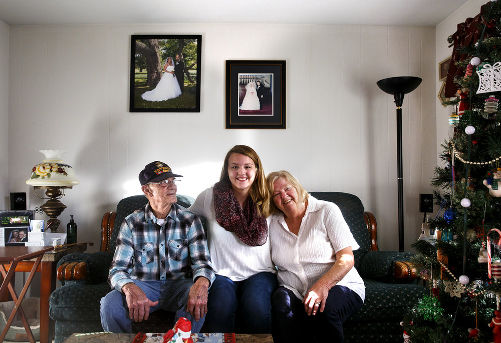 Ashley Hackwith lives with her grandparents Lloyd and Sarah Hackwith after the unexpected death of her mother last year. Ashley also considers her teammates on the basketball team at Lanphier High School part of her family. The Hackwiths were photographed Thursday, Dec. 22, 2016. Rich Saal/The State Journal-Register