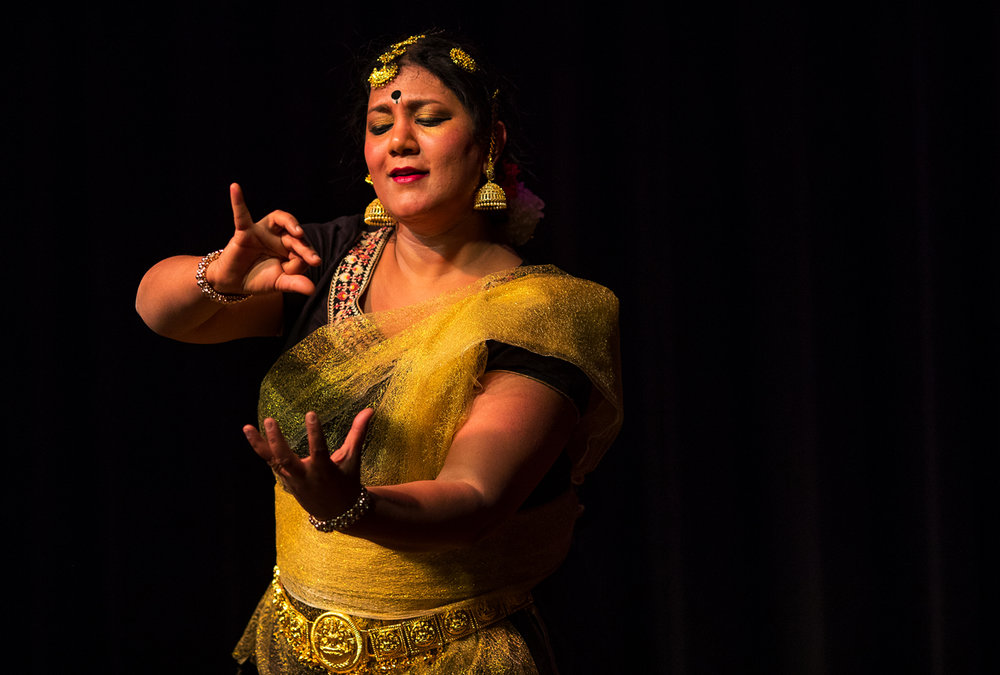 "Dr. Vidya Sundareshan performs Navarasa, ""The Nine Expressions"" during First Night Springfield at the Hoogland Center for the Arts Saturday, Dec. 31, 2016. Ted Schurter/The State Journal-Register"