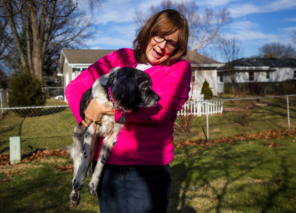 Mary Voth adopted her 14-year-old dog, Hope, a week ago Thursday, the nearly blind and deaf dog that had been thrown into the trash could barely walk. Ted Schurter/The State Journal-Register