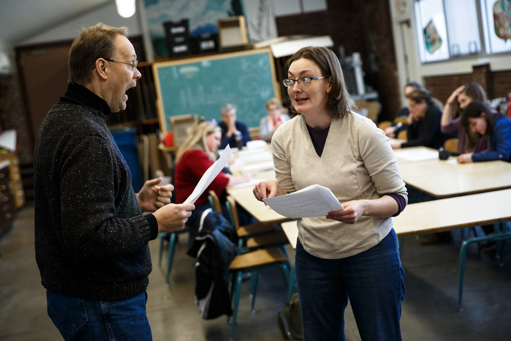 "Vernon Vincent, left, and Sharon Waltrip, right, go through a scene during auditions for ""Historical Fiction"" at the Springfield Art Association, Saturday, Jan. 7, 2017, in Springfield, Ill. The comedy is written and directed by Mark Beanblossom and showcases the ups and downs of community theater. Justin L. Fowler/The State Journal-Register"