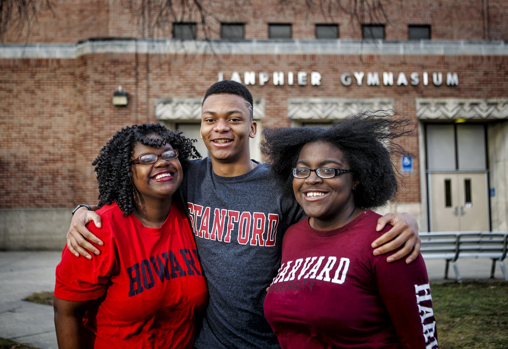 Lanphier grads Kanicia Green, left, Eric Mason, center and Southeast grad Alexa Brown, right, have made it through their first semesters at Howard University, Stanford University and Harvard University as they further their education. The three friends, who also attended Franklin Middle School together, have overcame a lot of adversity in their youth with bright futures ahead. Justin L. Fowler/The State Journal-Register
