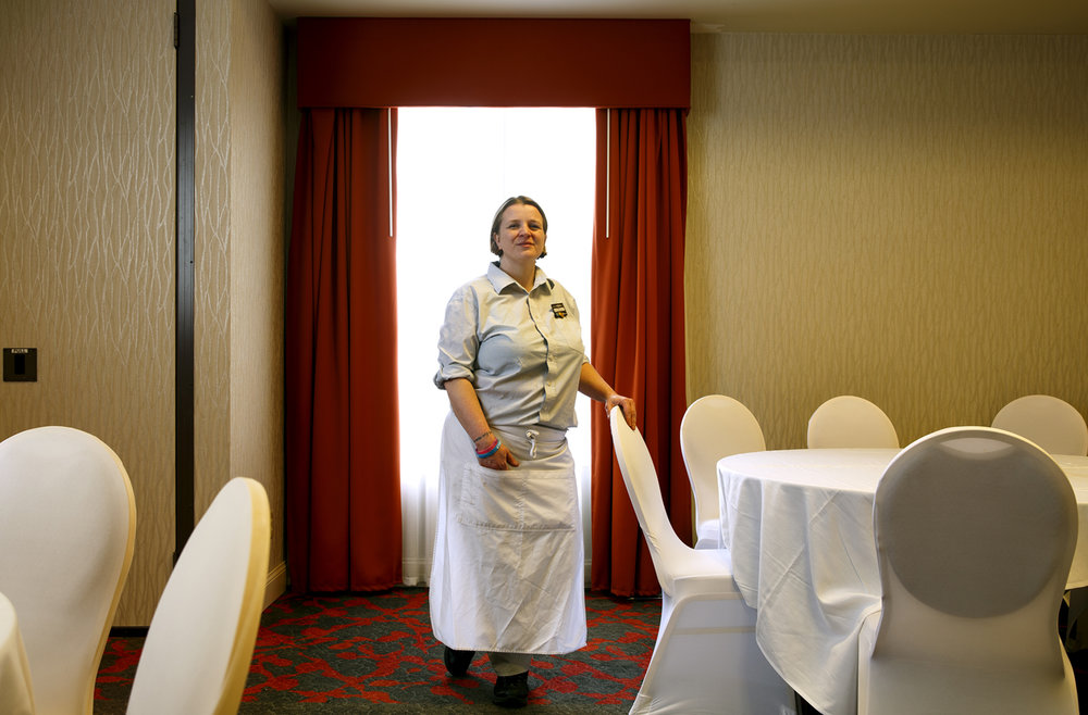Hotel room nights in Springfield are down due to a lack of business from the state, leaving Tiffany Matthews, the banquet captain at Hilton Garden Inn, with fewer hours and in search of a second job. Matthews was photographed Thursday, Jan. 6, 2016. Rich Saal/The State Journal-Register