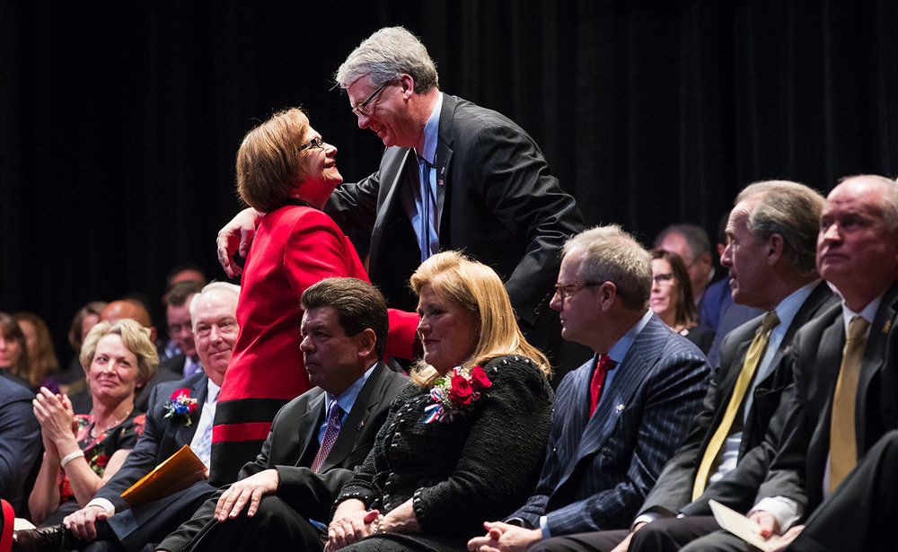 Illinois House Rep. Norine Hammond, R-Macomb, is greeted by Illinois House Minority Leader Jim Durkin, R-Western Springs, after she nominated him for Illinois Speaker of the House during the inauguration ceremony for the 100th Illinois General Assembly at Sangamon Auditorium at the University of Illinois Springfield Wednesday, Jan. 11, 2017. Mike Madigan was elected to his 17th term as Illinois Speaker of the House. Ted Schurter/The State Journal-Register