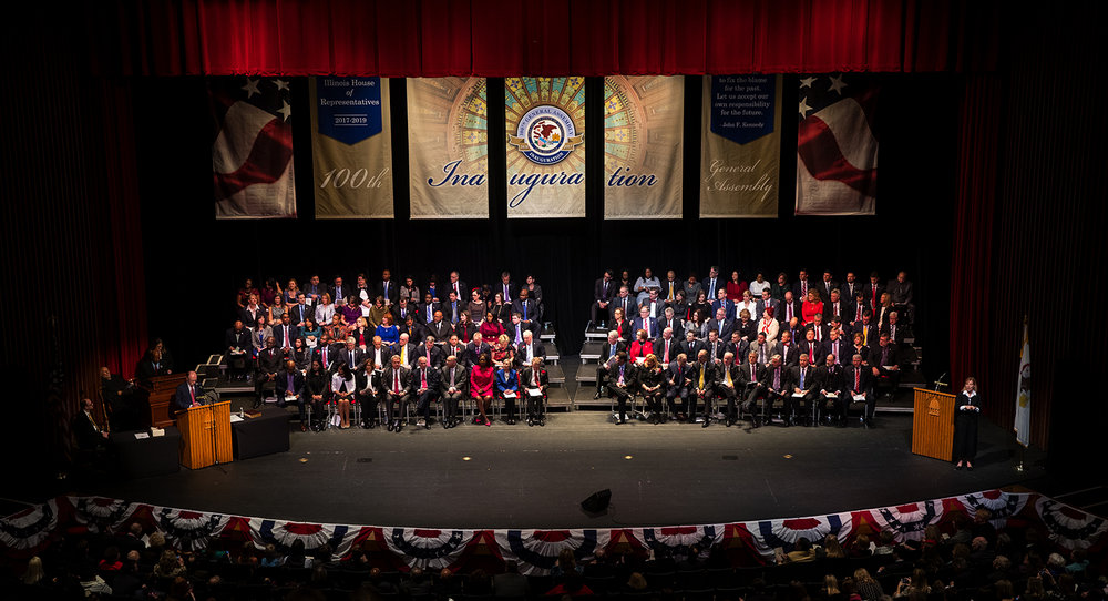 The 100th Illinois General Assembly was sworn into office during a ceremony at Sangamon Auditorium at the University of Illinois Springfield Wednesday, Jan. 11, 2017. Ted Schurter/The State Journal-Register