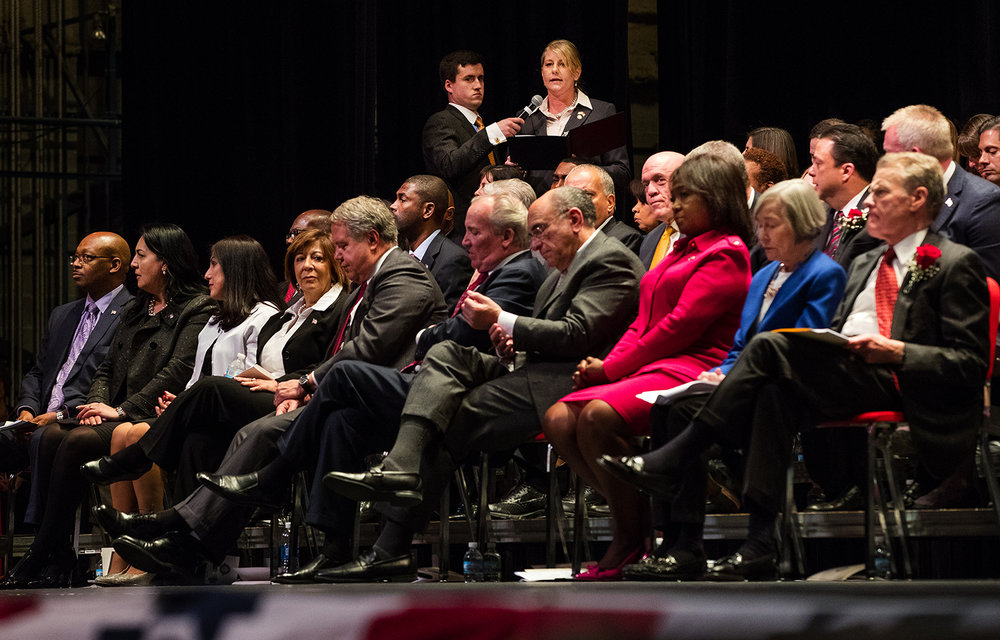 Stephanie Kifowit, D-Aurora, speaks about the need for leadership from all parties during inauguration ceremonies for the 100th General Assembly at Sangamon Auditorium at the University of Illinois Springfield Wednesday, Jan. 11, 2017. Ted Schurter/The State Journal-Register