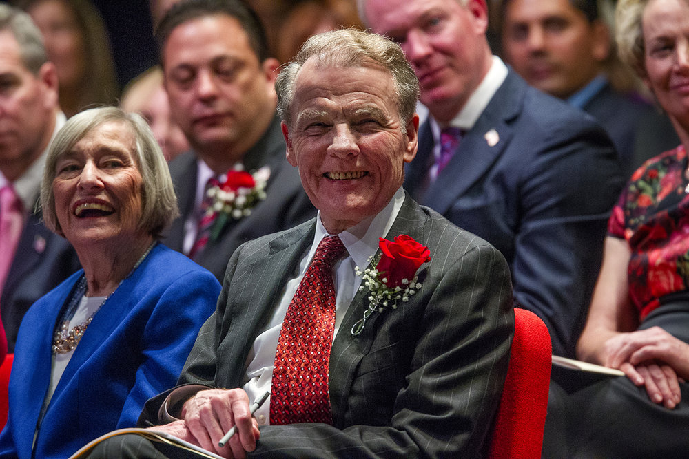 Illinois House Speaker Michael Madigan, D-Chicago, laughs during the inauguration ceremony for the 100th Illinois General Assembly at Sangamon Auditorium at the University of Illinois Springfield Wednesday, Jan. 11, 2017. Madigan has been elected to a 17th term during a ceremony at the University of Illinois Springfield. House Majority Leader Barbara Fynn Currie, D-Chicago, is at left. Ted Schurter/The State Journal-Register