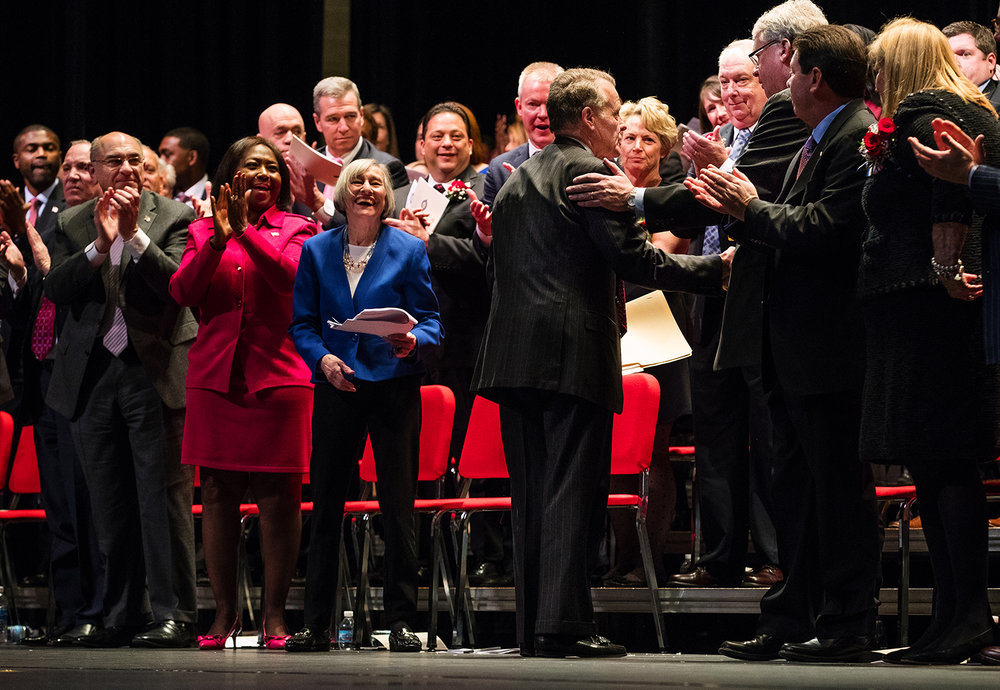 Illinois House Speaker Michael Madigan, D-Chicago, shakes hands with House Republican Leader Jim Durkin, R- Western Springs, after being named Speaker of the House during the inauguration ceremony for the 100th Illinois General Assembly at Sangamon Auditorium at the University of Illinois Springfield Wednesday, Jan. 11, 2017. Madigan has been elected to a 17th term during a ceremony at the University of Illinois Springfield. Ted Schurter/The State Journal-Register