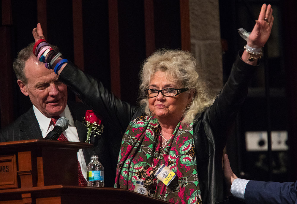 Shirley Madigan acknowledges the crowd after being introduced by her husband, Illinois House Speaker Michael Madigan, D-Chicago, during the inauguration ceremony for the 100th Illinois General Assembly at Sangamon Auditorium at the University of Illinois Springfield Wednesday, Jan. 11, 2017. Ted Schurter/The State Journal-Register