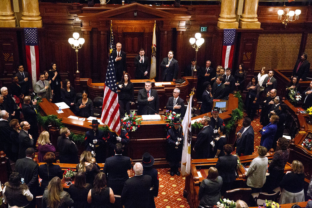 The Lincoln's Challenge Academy Color Guard presents the colors while the Pledge of Allegiance is recited before the inauguration of the Senate as part of the 100th Illinois General Assembly Wednesday, Jan. 11, 2017 at the Capitol. Rich Saal/The State Journal-Register