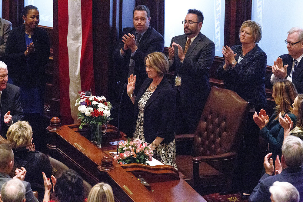 Sen. Christine Radogno, R-Lemont, was recognized for her work by Senate President John Cullerton during inauguration of the Senate as part of the 100th Illinois General Assembly Wednesday, Jan. 11, 2017 at the Capitol. Rich Saal/The State Journal-Register