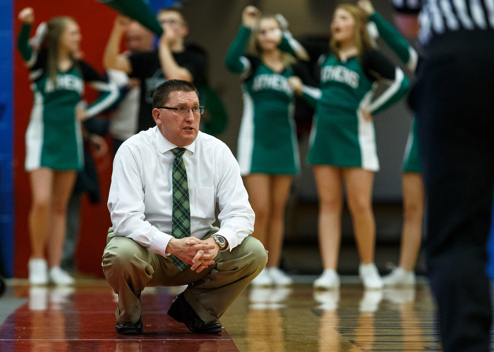 Athens boys basketball head coach Jeff Johnston watches as his team takes on Pleasant Plains in the first half during the Sangamon County Tournament at Cass Gymnasium, Thursday, Jan. 12, 2017, in Springfield, Ill. Justin L. Fowler/The State Journal-Register