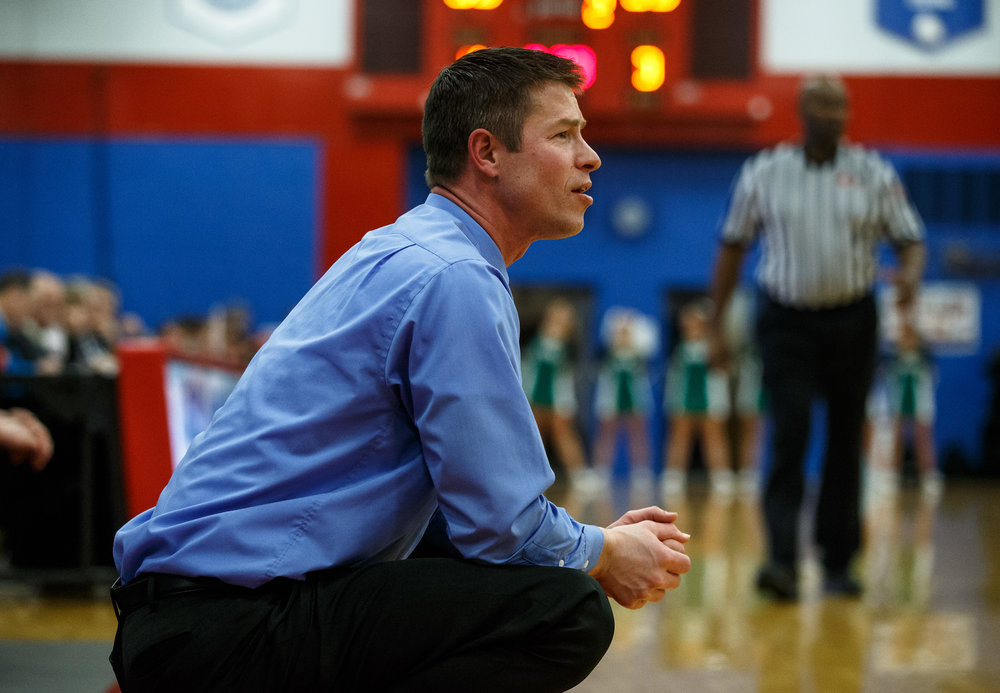 Pleasant Plains boys basketball head coach Kyle Weber watches as his team take on Athens in the first half during the Sangamon County Tournament at Cass Gymnasium, Thursday, Jan. 12, 2017, in Springfield, Ill. Justin L. Fowler/The State Journal-Register