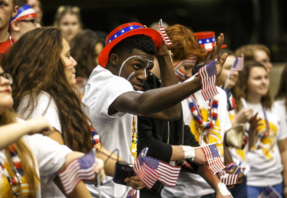 Southeast sophomore Vincent Hill, center, dances with the student section as they get fired up for the Spartans entrance to take on Sacred Heart-Griffin on the first day of the Boys City Basketball Tournament at the Prairie Capital Convention Center, Thursday, Jan. 19, 2017, in Springfield, Ill. Justin L. Fowler/The State Journal-Register
