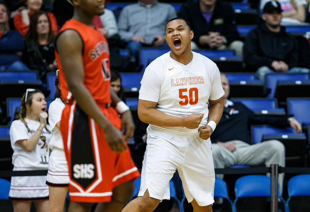 Lanphier's Will Boles (50) reacts after drawing the foul against Springfield in the first quarter of the Boys City Basketball Tournament at the Prairie Capital Convention Center, Thursday, Jan. 19, 2017, in Springfield, Ill. Justin L. Fowler/The State Journal-Register
