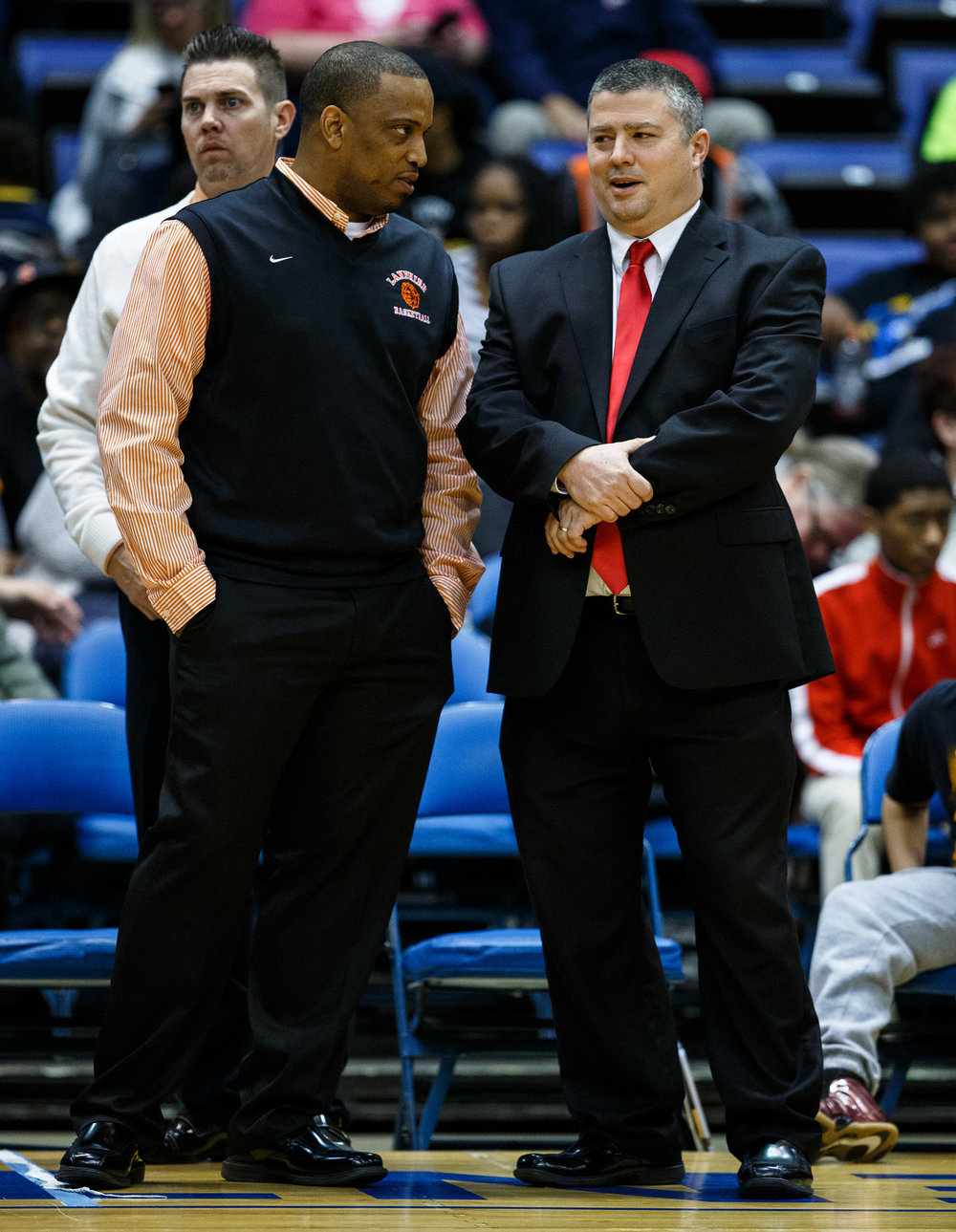 Lanphier boys basketball head coach Blake Turner talks with Springfield boys basketball head coach Joby Crum prior to second game of the night during the Boys City Basketball Tournament at the Prairie Capital Convention Center, Thursday, Jan. 19, 2017, in Springfield, Ill. Justin L. Fowler/The State Journal-Register