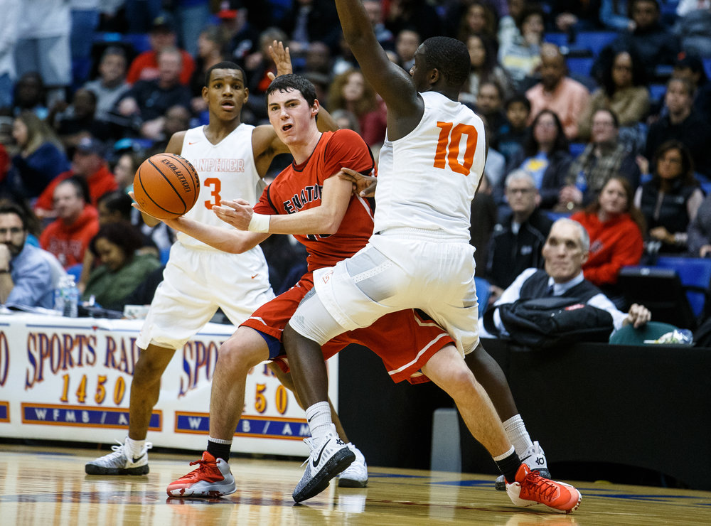 Springfield's Trevor Minder (10) tries to find an opening to pass while being pressed by Lanphier's Corrington Jones (10) in the second quarter of the Boys City Basketball Tournament at the Prairie Capital Convention Center, Thursday, Jan. 19, 2017, in Springfield, Ill. Justin L. Fowler/The State Journal-Register