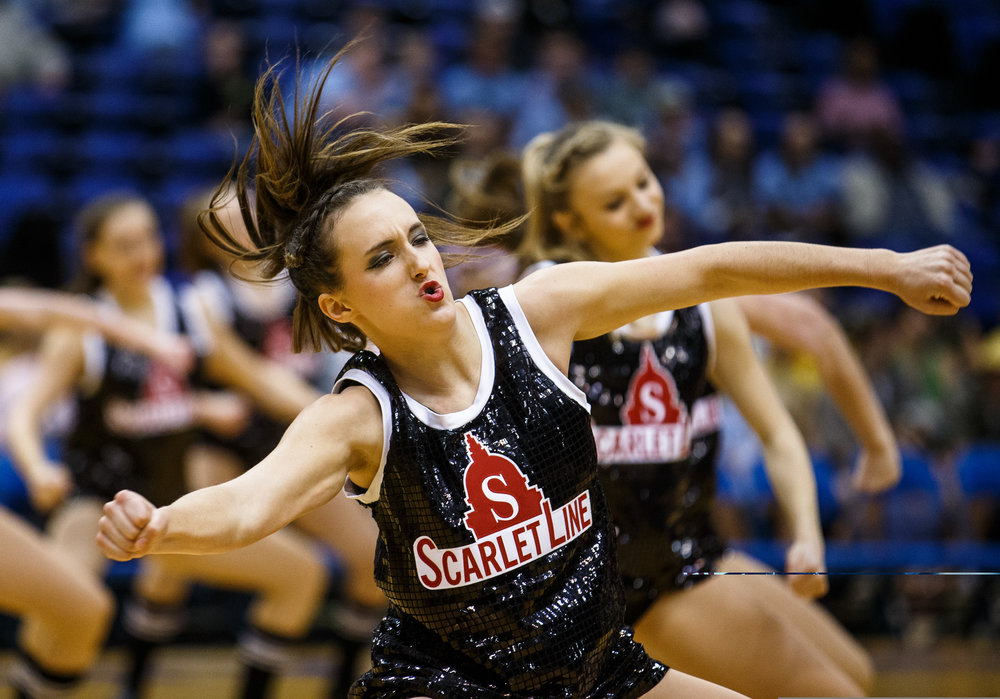 The Springfield Scarlet Line dance team performs during the Boys City Basketball Tournament at the Prairie Capital Convention Center, Thursday, Jan. 19, 2017, in Springfield, Ill. Justin L. Fowler/The State Journal-Register