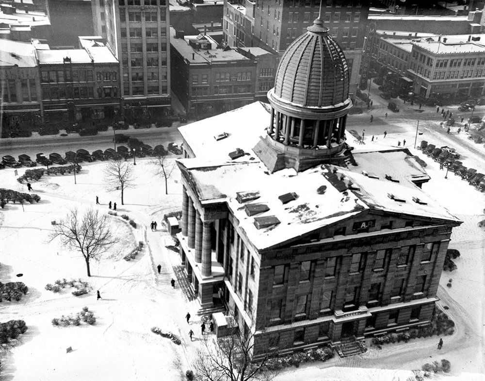 Sangamon County Courthouse,  aerial with snow, Jan. 30, 1937. File/The State Journal-Register