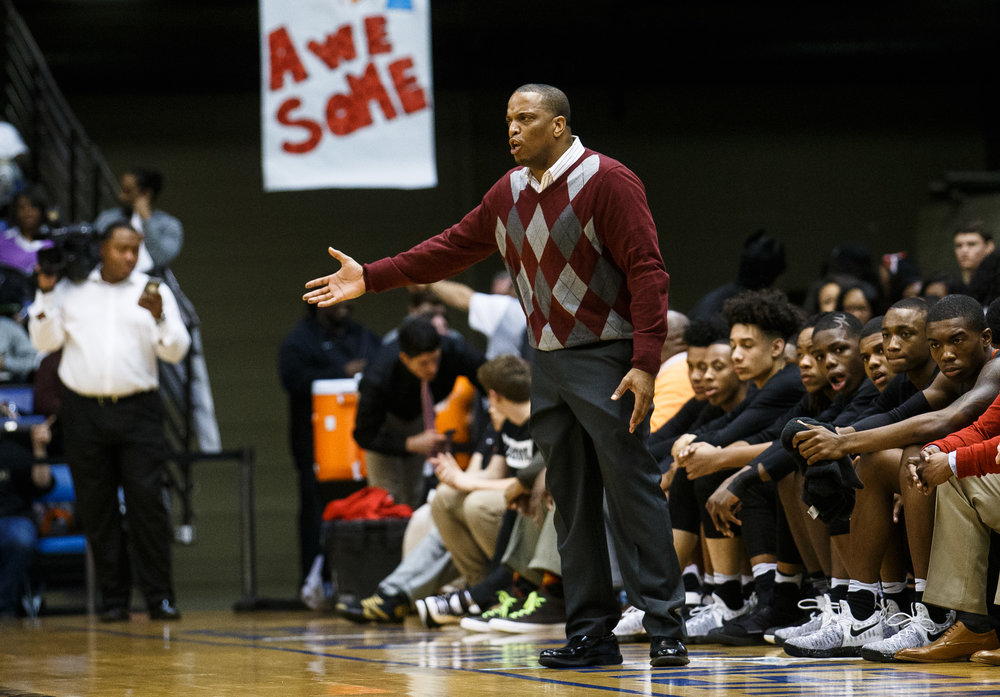 Lanphier boys basketball head coach Blake Turner directs his players as they take on Sacred Heart-Griffin in the first quarter of the Boys City Basketball Tournament at the Prairie Capital Convention Center, Friday, Jan. 20, 2017, in Springfield, Ill. Justin L. Fowler/The State Journal-Register