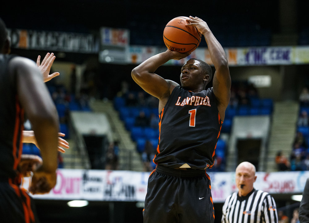 Lanphier's Yaakema Rose (1) shoots a jumper against Sacred Heart-Griffin in the first quarter of the Boys City Basketball Tournament at the Prairie Capital Convention Center, Friday, Jan. 20, 2017, in Springfield, Ill. Justin L. Fowler/The State Journal-Register
