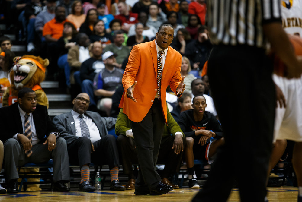 Lanphier boys basketball head coach Blake Turner argues a call as the Lions take on Southeast in the second quarter of the championship game of the Boys City Basketball Tournament at the Prairie Capital Convention Center, Saturday, Jan. 21, 2017, in Springfield, Ill. Justin L. Fowler/The State Journal-Register