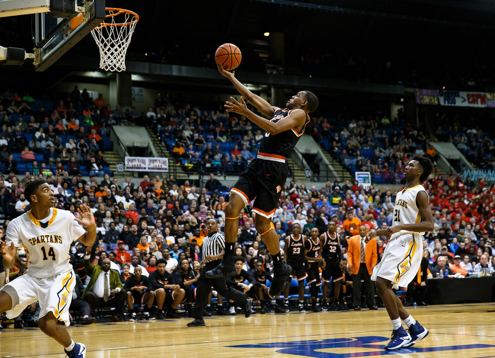 Lanphier's Aundrae Williams (3) puts in a lay-up on a fast break against Southeast in the third quarter of the championship game of the Boys City Basketball Tournament at the Prairie Capital Convention Center, Saturday, Jan. 21, 2017, in Springfield, Ill. Justin L. Fowler/The State Journal-Register