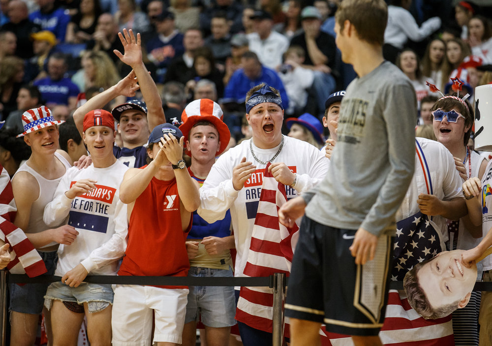 The Sacred Heart-Griffin student section has a little fun with Sacred Heart-Griffin's Tim Brenneisen (3) prior to the start of the third quarter of the third place game of the Boys City Basketball Tournament at the Prairie Capital Convention Center, Saturday, Jan. 21, 2017, in Springfield, Ill. Justin L. Fowler/The State Journal-Register