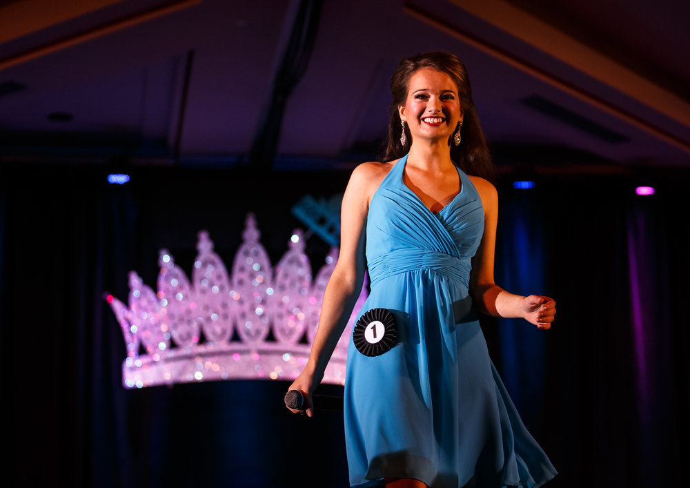 Clare Bunyan, of Union County, walks the runway after her answers in the communications skills competition during the 2017 Miss Illinois County Fair Queen Pageant at the Crowne Plaza, Sunday, Jan. 22, 2017, in Springfield, Ill. Justin L. Fowler/The State Journal-Register