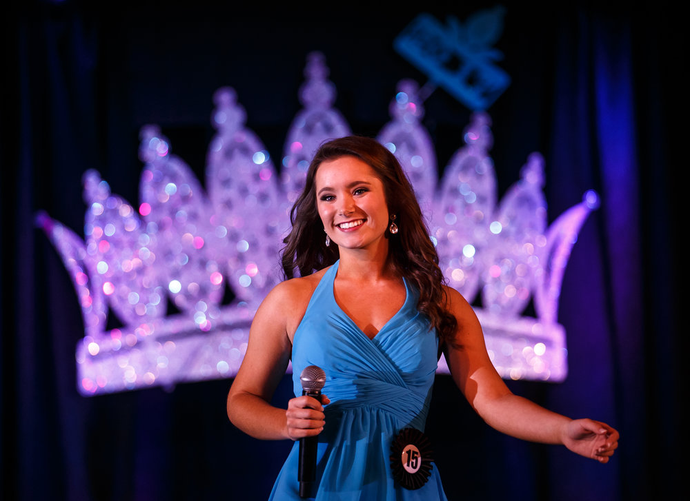 Emma Hildebrand, of Adams County, hits the runway after the communication skills competition during the 2017 Miss Illinois County Fair Queen Pageant at the Crowne Plaza, Sunday, Jan. 22, 2017, in Springfield, Ill. Justin L. Fowler/The State Journal-Register