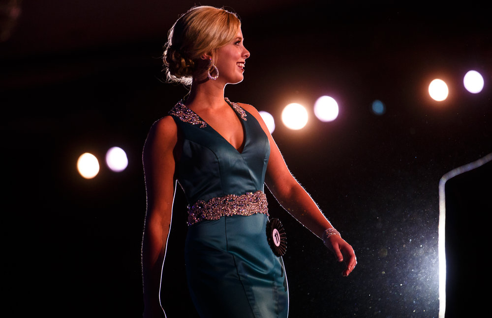 Emilee Livesay, of Rock Island County, finishes off her walk in the stage presence competition during the 2017 Miss Illinois County Fair Queen Pageant at the Crowne Plaza, Sunday, Jan. 22, 2017, in Springfield, Ill. Justin L. Fowler/The State Journal-Register