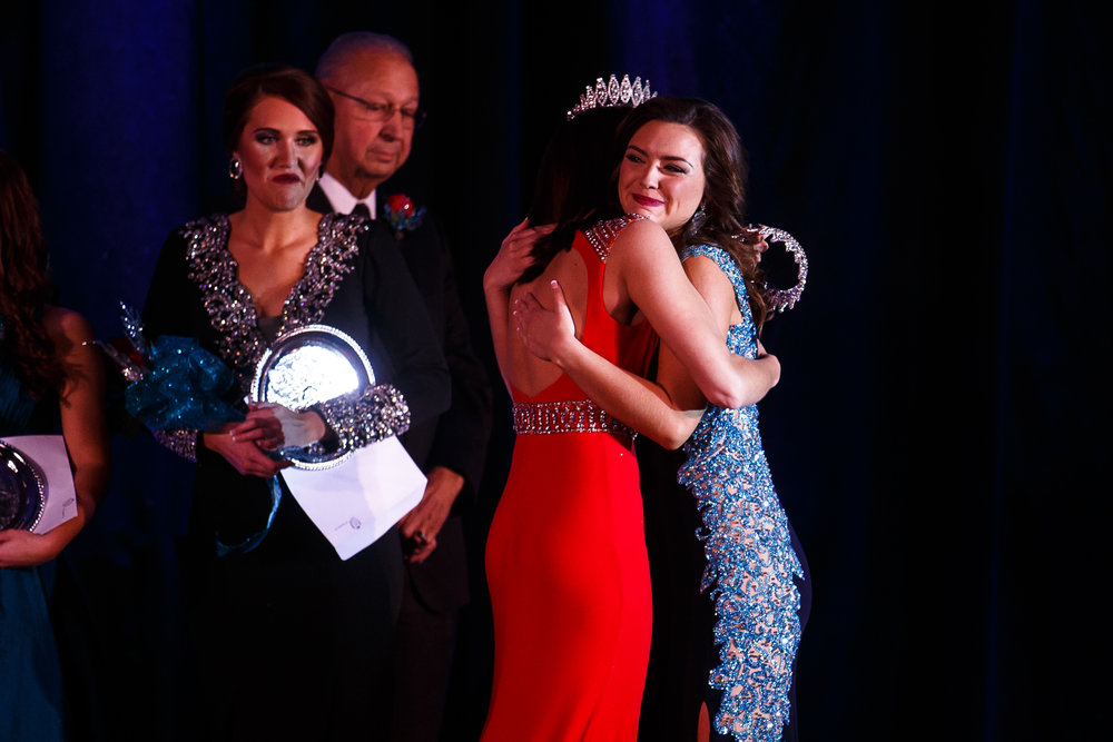 Claudia VanOpdorp, of Henry County, hugs Abby Foster, 2016 Miss Illinois County Fair Queen, after being named the 2017 Miss Illinois County Fair Queen during this year's pageant at the Crowne Plaza, Sunday, Jan. 22, 2017, in Springfield, Ill. Justin L. Fowler/The State Journal-Register