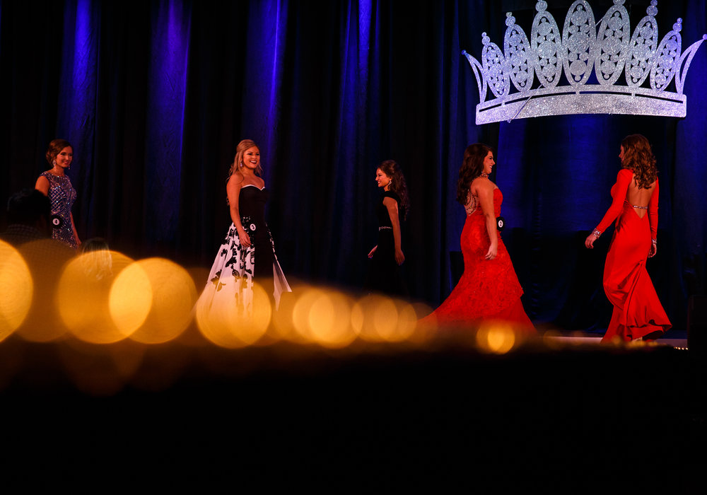 Contestants show off their evening gowns as the finalists take one last walk before finding the winner during the 2017 Miss Illinois County Fair Queen Pageant at the Crowne Plaza, Sunday, Jan. 22, 2017, in Springfield, Ill. Justin L. Fowler/The State Journal-Register
