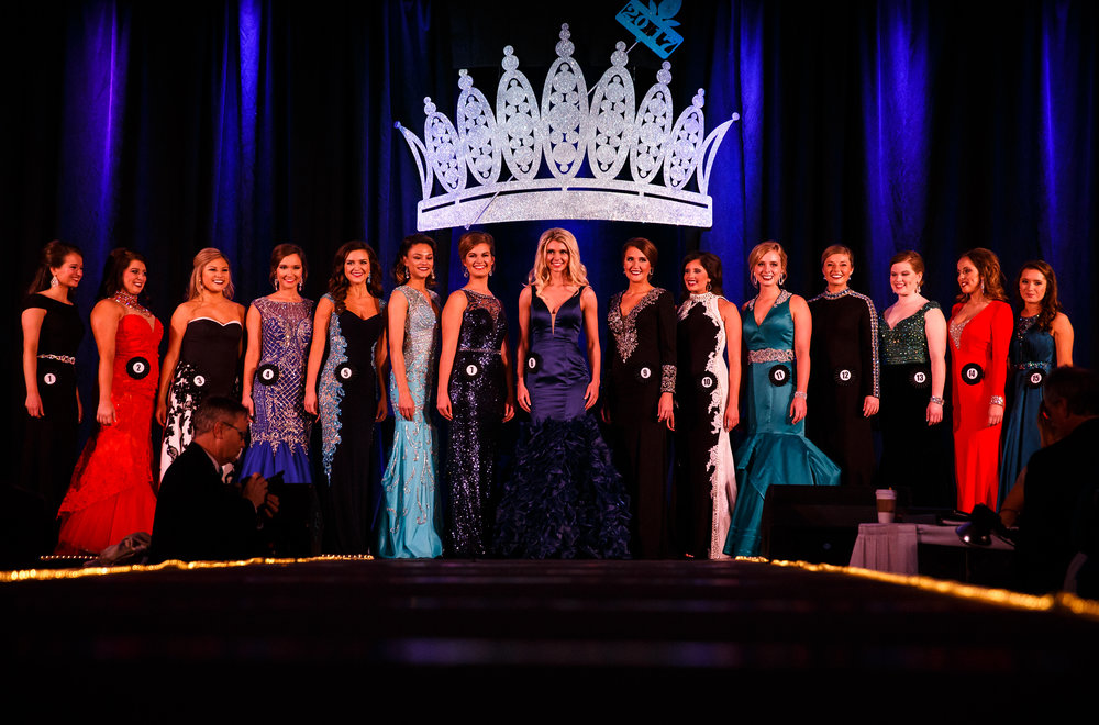 The fifteen finalists let the crowd get one last look as a group before finding out the winner during the 2017 Miss Illinois County Fair Queen Pageant at the Crowne Plaza, Sunday, Jan. 22, 2017, in Springfield, Ill. Justin L. Fowler/The State Journal-Register