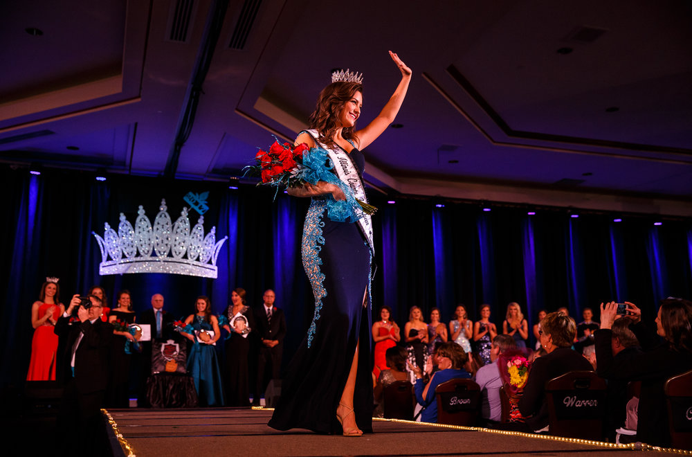 Claudia VanOpdorp, of Henry County, takes her first walk as Miss Illinois County Fair Queen after taking the crown during the 2017 Miss Illinois County Fair Queen Pageant at the Crowne Plaza, Sunday, Jan. 22, 2017, in Springfield, Ill. Justin L. Fowler/The State Journal-Register