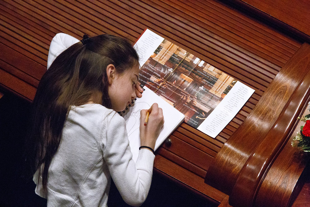 Mary Stirton sketches in her notebook during the inauguration ceremony of the Senate as part of the 100th Illinois General Assembly Wednesday, Jan. 11, 2017 at the Capitol in Springfield, Ill. Stirton's grandfather, Sen. William Haine, D-Alton, was among the senators who were sworn in. Rich Saal/The State Journal-Register