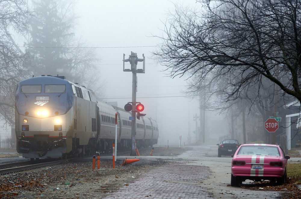 An Amtrak passenger train heads south on the Third Street railroad tracks through a thick fog Monday, Jan. 16, 2017. Rich Saal/The State Journal-Register
