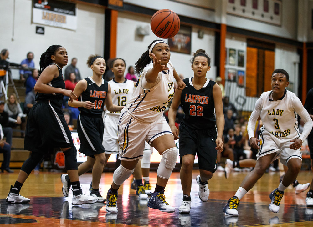 Southeast's Kelsey Alexander (33) tries to save a ball from going out-of-bounds against Lanphier in the third quarter during the third place game of the Girls City Basketball Tournament at Lanphier High School, Thursday, Jan. 26, 2017, in Springfield, Ill. Justin L. Fowler/The State Journal-Register