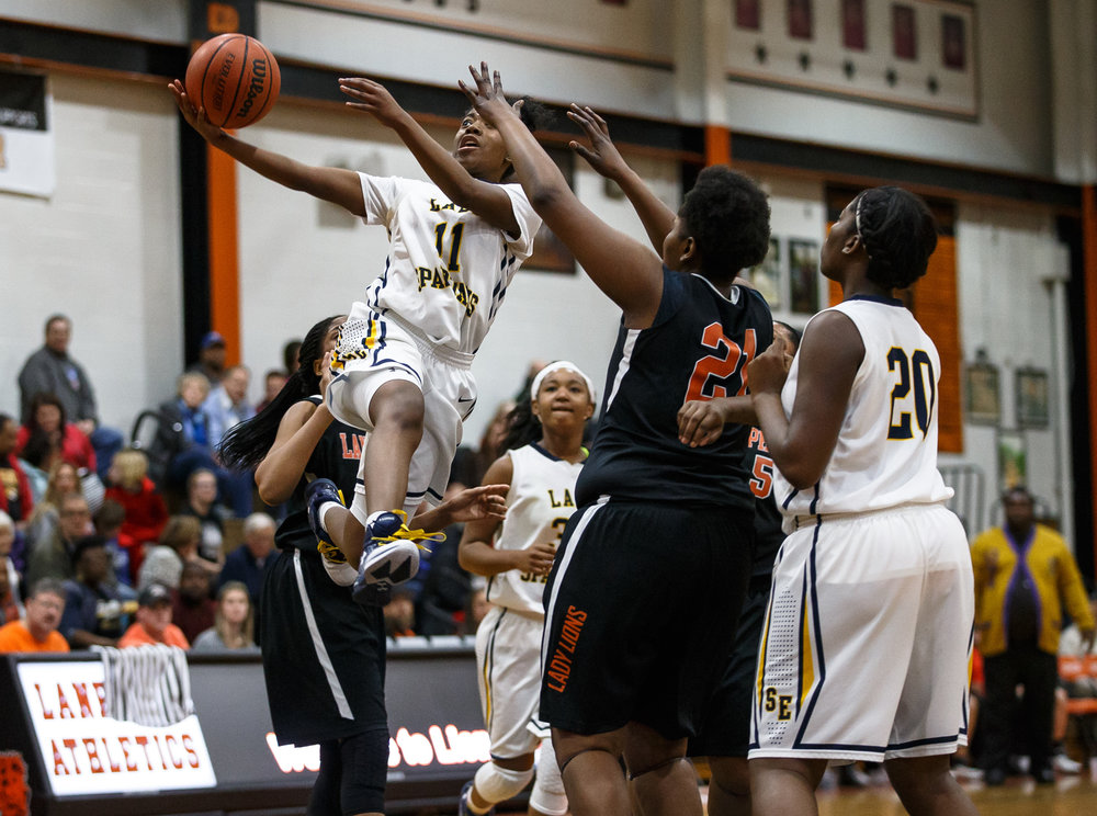 Southeast's Shelby Williams (11) goes up for a lay-up attempt against Lanphier in the fourth quarter during the third place game of the Girls City Basketball Tournament at Lanphier High School, Thursday, Jan. 26, 2017, in Springfield, Ill. Justin L. Fowler/The State Journal-Register