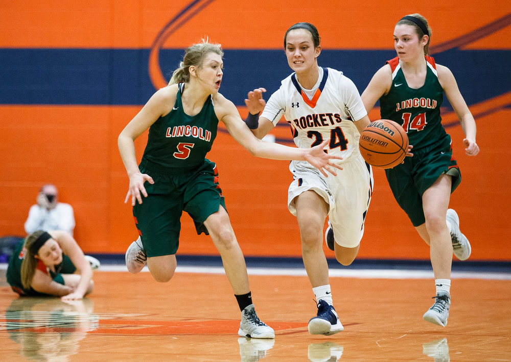 Lincoln's Kaelyn Froebe (5) tries to disrupt a fast break from Rochester's Nicole Robinson (24) in the third quarter during the CS8 Non-City Tournament at the Rochester Athletic Complex, Saturday, Jan. 28, 2017, in Rochester, Ill. Justin L. Fowler/The State Journal-Register