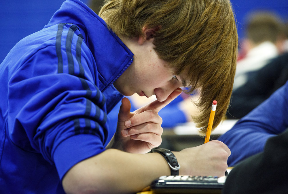 Josh Farthing, an Auburn High School student, ponders a question on one of the tests at the Worldwide Youth in Science and Engineering (WYSE) Academic Challenge Tuesday, Jan. 31 at Lincoln Land Community College. Students from 19 area high schools participate in the regional level competition, being tested in their choice of two of seven different subjectsÑ biology, chemistry, computer science, engineering graphics, English, mathematics and physics. Rich Saal/The State Journal-Register