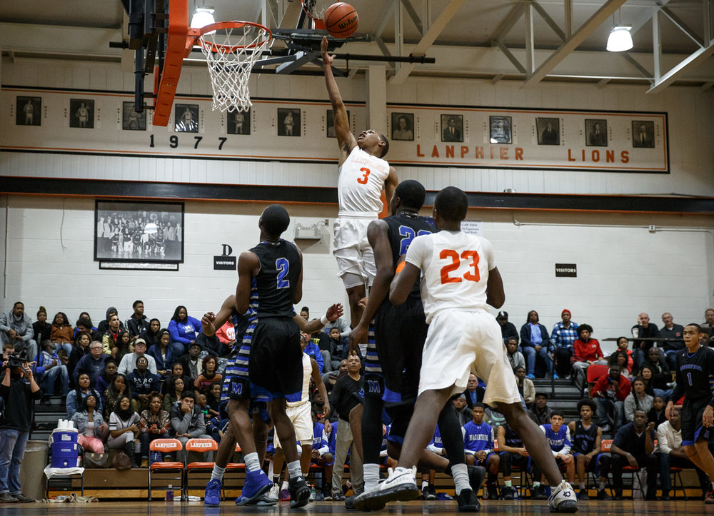 Lanphier's Aundrae Williams (3) goes in for the lay-up against Decatur MacArthur in the second quarter at Lanphier High School, Friday, Feb. 3, 2017, in Springfield, Ill. Justin L. Fowler/The State Journal-Register