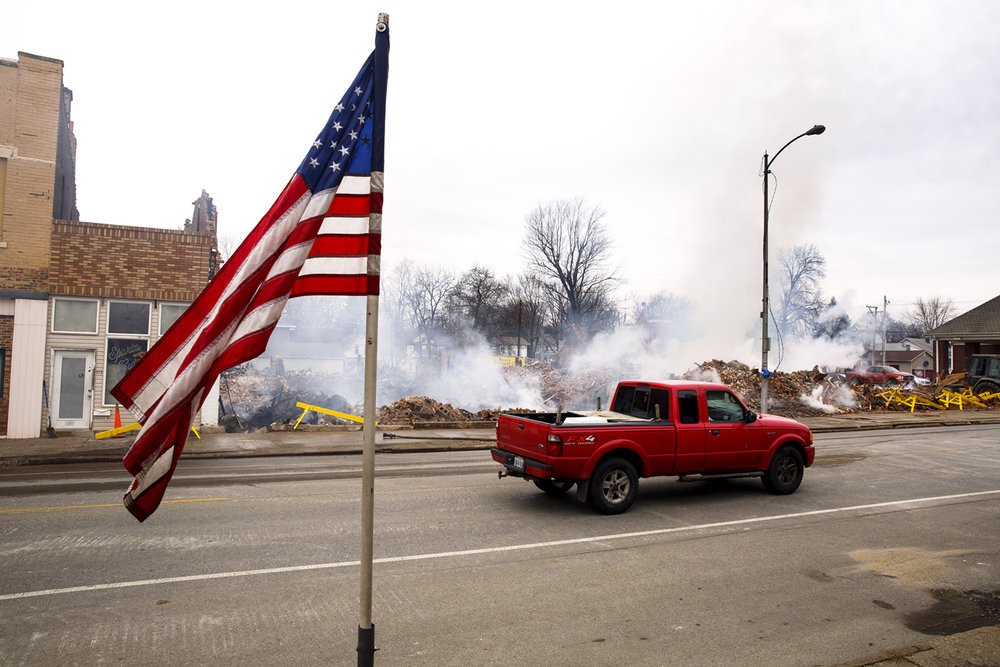 A fire Tuesday in White Hall destroyed three storefront buildings on Main Street, which were still smoldering Wednesday, Feb. 1, 2017. Rich Saal/The State Journal-Register