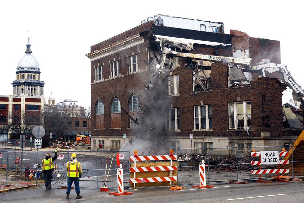 The WYCA building at Fifth and Jackson streets was demolished Wednesday, Feb. 1, 2017. Rich Saal/The State Journal-Register