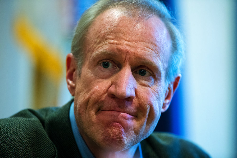 Illinois Gov. Bruce Rauner speaks with the editorial board of the State Journal-Register Monday, Feb. 6, 2017. [Ted Schurter/The State Journal-Register]