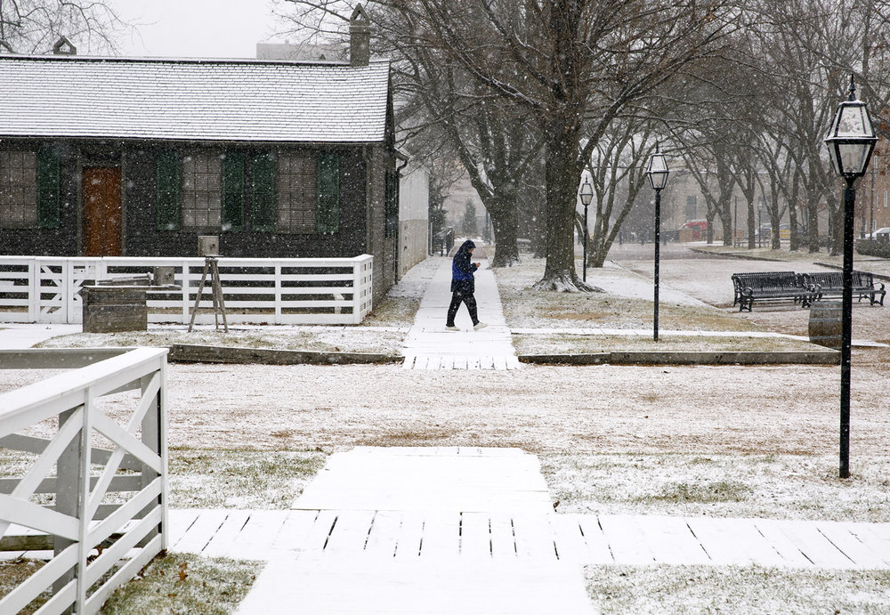 Snow fell in the Springfield area Wednesday, Feb. 8, 2017 and turned the ground white, including in the Lincoln Home area. [Rich Saal/The State Journal-Register]