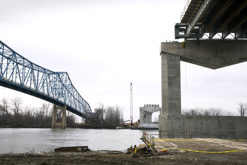 A new bridge to carry Illinois 104 over the Illinois River at Meredosia is north of the old structure. The construction site was photographed Friday, Feb. 13, 2017 [Rich Saal/The State Journal-Register]