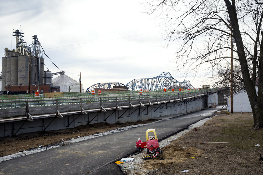 A new $75.1 million bridge that will carry Illinois 104 over the Illinois River at Meredosia is under construction Friday, Feb.10, 2017. The structure is north of the old bridge, which opened in 1936 and will eventually be demolished. [Rich Saal/The State Journal-Register]