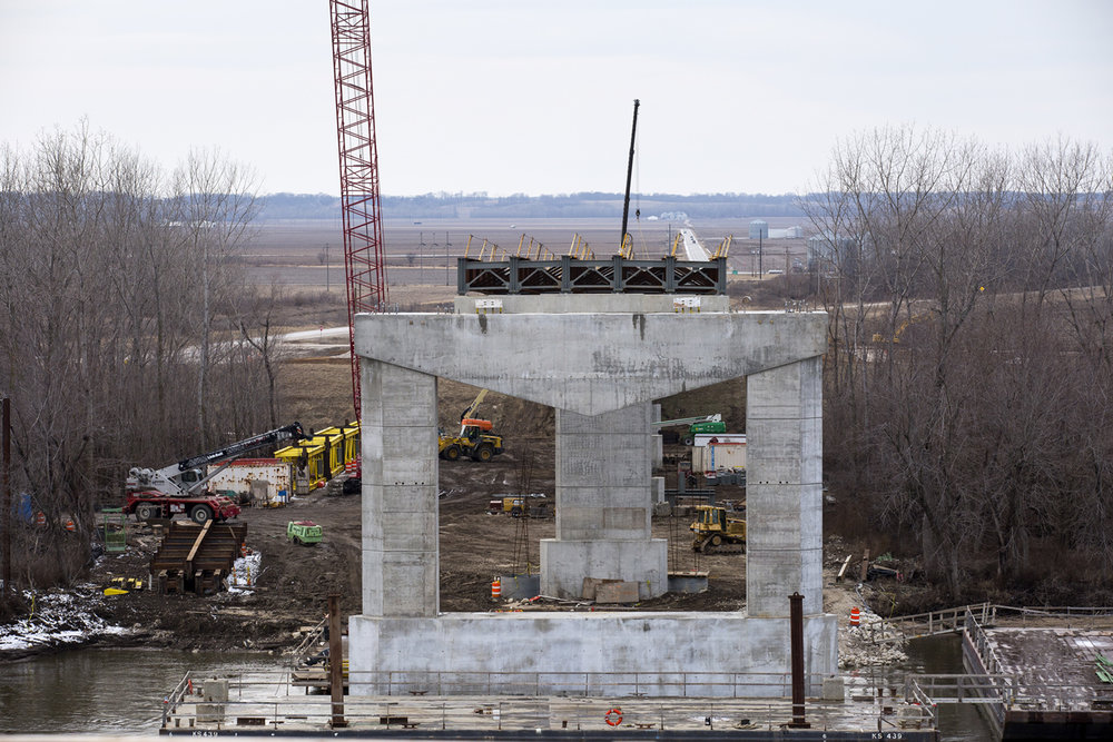 The west approach to the new bridge over the Illinois River at Meredosia is seen from the east side of the river Friday, Feb. 10, 2017. The new structure is expected to open next summer.[Rich Saal/The State Journal-Register]