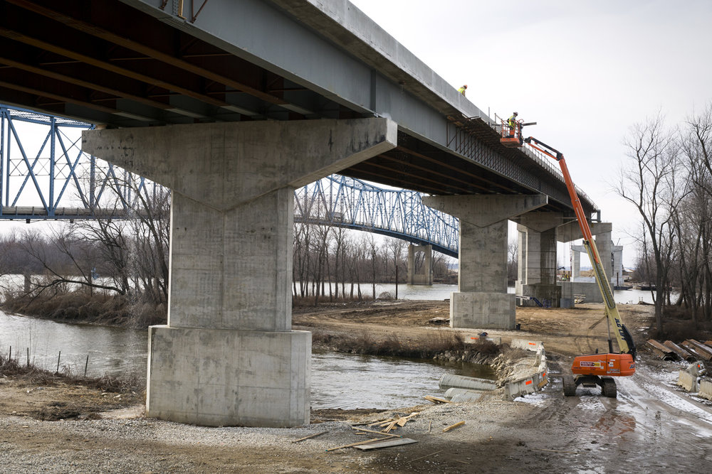 A new $75.1 million bridge that will carry Illinois 104 over the Illinois River at Meredosia is under construction and expected to open next summer. The structure is north of the old bridge, which opened in 1936 and will eventually be demolished.The new bridge was photographed Friday, Feb.10, 2017. [Rich Saal/The State Journal-Register]
