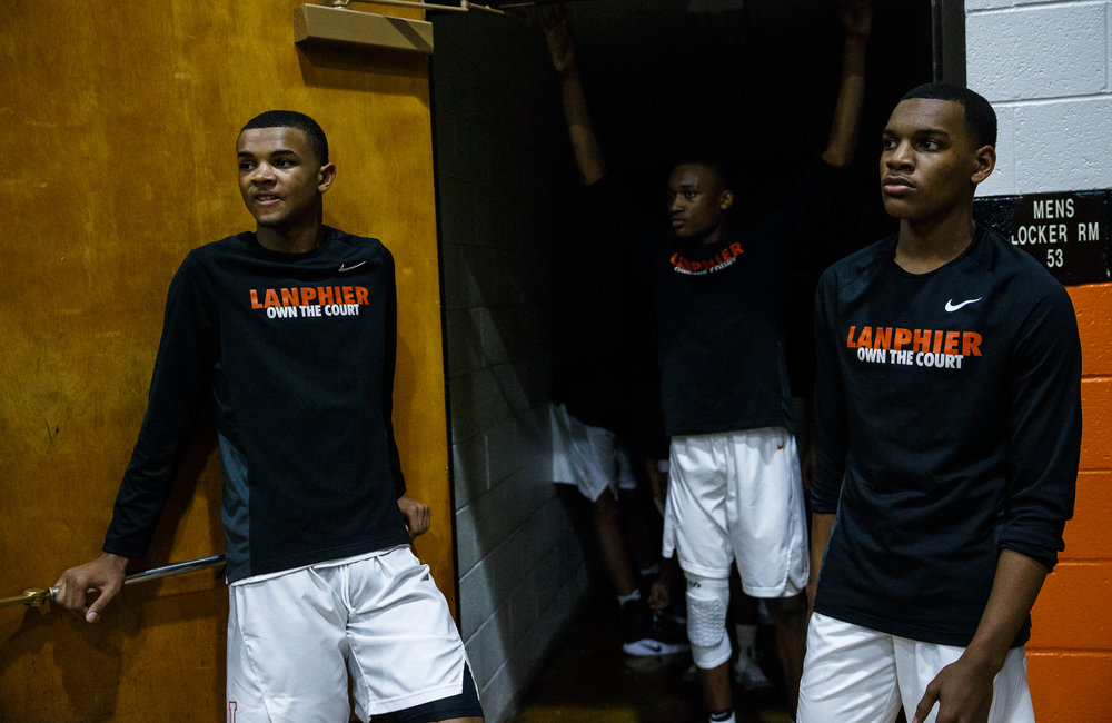 Lanphier's Cardell McGee (2) and Lanphier's Aundrae Williams (3) wait outside their locker room prior to going out on the court to take on Southeast at Lober Nika Gymnasium, Tuesday, Feb. 21, 2017, in Springfield, Ill. [Justin L. Fowler/The State Journal-Register]